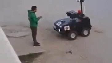 Tunisian police using robots to tell people to stay home