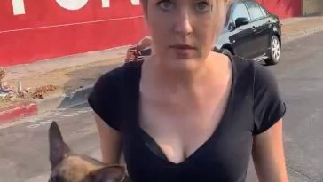 Deranged (possibly possessed) woman harasses a guy and then throws a puppy at him