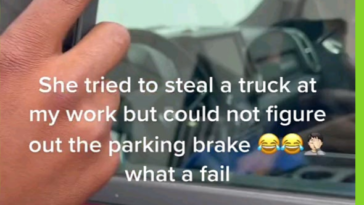 Moron tries to steal a truck but doesnt know how to drive it