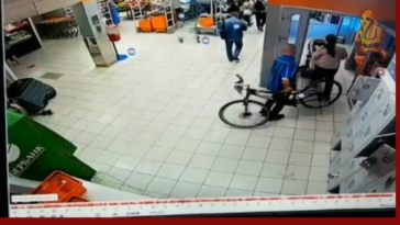 Man goes mental after an employee carries his bicycle outside.
