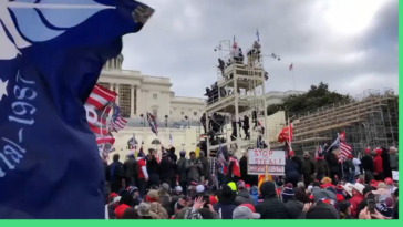 Former U.S. House Representative Dana Rohrabacher breaching Capitol police barricades on Jan. 6. The highest level GOP leader spotted in the mob so far.
