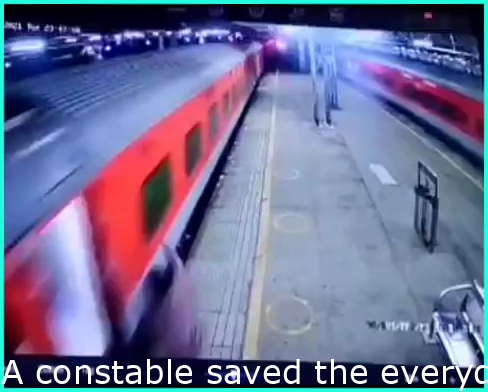 A constable saved the life of a passenger who fell while trying to get down from a running train at Mumbai...