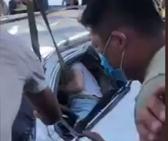 Happened yesterday in Vietnam. The car was pancaked underneath a semi. Driver survived w minor injury. He bowed to those that saved him.
