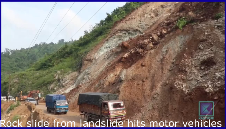 Rock fall from landslide hits vehicles in Nepal.