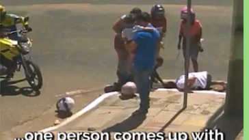 Lady survives after falling into a drain