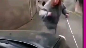 Shouting match between an angry driver and a slow woman