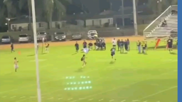 Streaker is tackled at high school football game